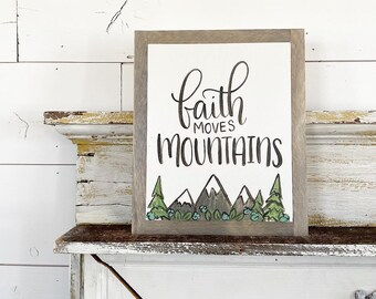 8x10 Hand Painted & Lettered Sign - Faith Moves Mountains - blue  flowers