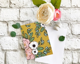 Mustard Yellow Floral  - Blank Greeting Card