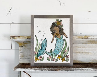 Floral Mermaid - Personalize this sign