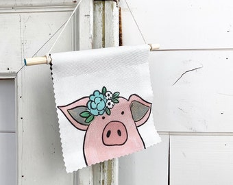 Ready to ship - Pig - Banner/Wall Hanging/ Pennant