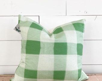 20x20 Green Plaid Pillow