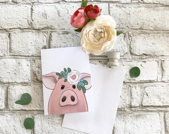 Pig - Blank Greeting Card
