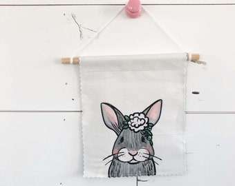Gray Bunny - Banner/ Wall Hanging/ Pennant