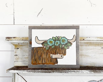 Highlander Scottish Cow with floral crown