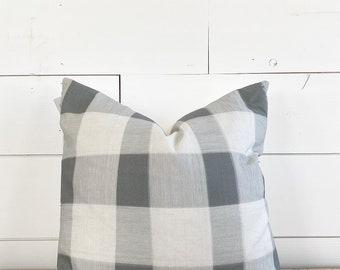 20x20 Gray Plaid Pillow