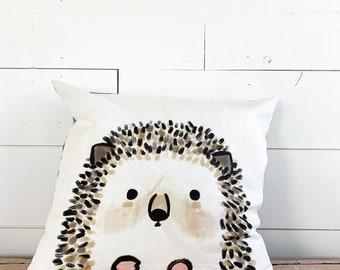 20x20  Pillow - Hedgehog/ Black Plaid Back