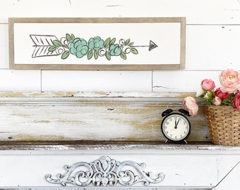 Floral Arrow - blue & white / Hand Lettered and Painted sign on Wood Canvas / 6x24
