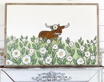 Highlander cow in Flowers  / Hand Lettered and Painted sign on Wood Canvas / 24x36