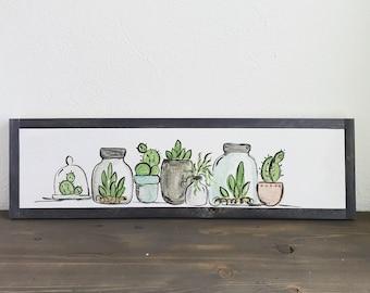 Succulent Still Life - 6x24