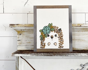 Hedgehog with Blue and yellow Flowers