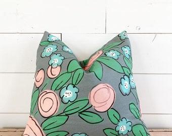 20x20 Gray Floral Pillow