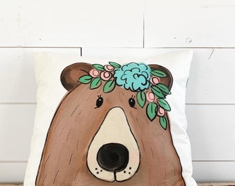 20x20  Pillow - Bear with Flowers  / Averie Floral Back