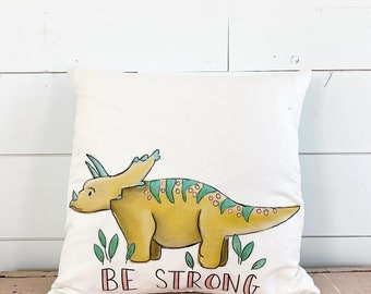 20x20 Pillow - Triceratops / Blue Plaid Back