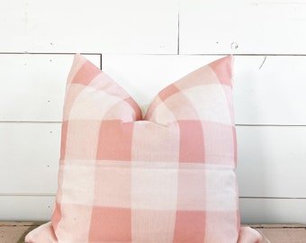 20x20 Pink Plaid Pillow