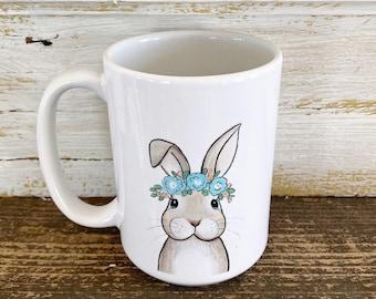 Bunny Rabbit with Floral Crown - 15oz Mug - Ships Free