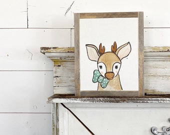 Deer with Blue Bow Tie