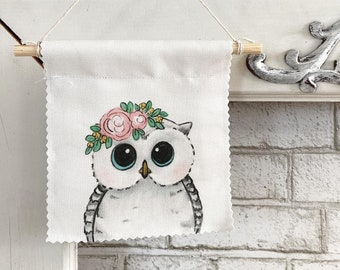 Ready to ship - Owl - Banner/Wall Hanging/ Pennant