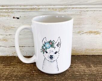 Alpaca with Floral Crown - 15oz Mug - Ships Free