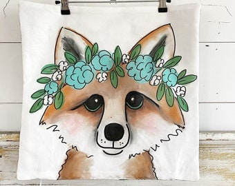 20x20 Pillow Cover | Fox with Flowers