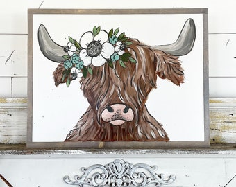 Highland Cow with Floral Crown
