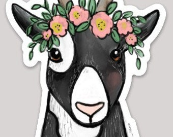 Goat w Flowers Sticker