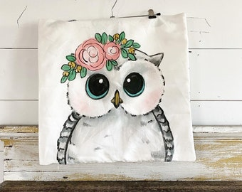 20x20 Pillow Cover | Owl with Flowers