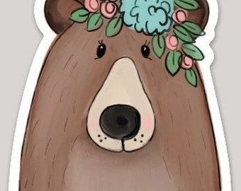 Bear with Flowers Sticker