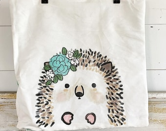 20x20 Pillow Cover | Hedgehog with flowers