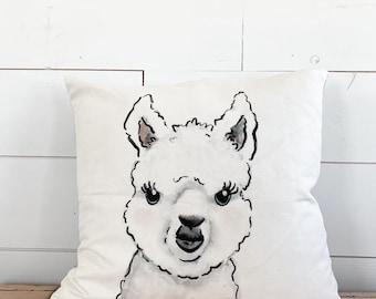 20x20  Pillow - Alpaca /Gray Plaid Back