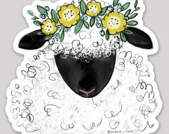 Sheep w Flowers Sticker