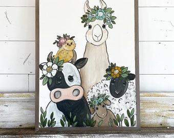 Floral Farm Friends / Llama / Sheep / Goat / Baby Chick