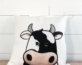 20x20  Pillow - Cow / Blue Plaid Back