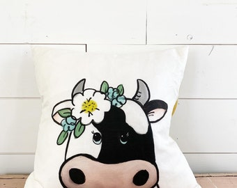 20x20  Pillow - Cow with Flowers / Yellow Plaid Back