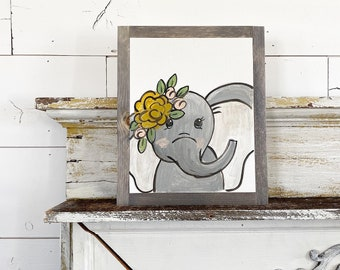 Ready to ship -Elephant with Yellow Flowers