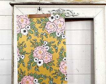 Gift Wrap - Large Repeat Mustard Yellow Floral
