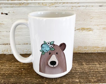 Bear with Floral Crown - 15oz Mug - Ships Free