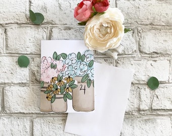 Flower Filled Pottery - Blank Greeting Card