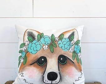 20x20 Fox with Flowers Pillow