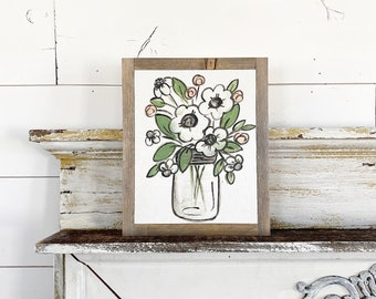 Floral mason jar White flowers