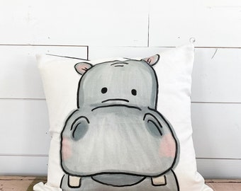 20x20  Pillow - Hippo  / Blue Plaid Back