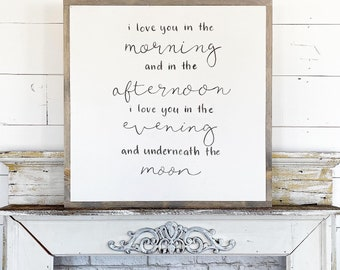 Made to Order / I love you in the morning / Hand Lettered & Painted sign on Wood Canvas / 24x24