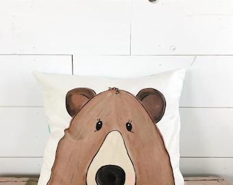 20x20  Pillow - Bear / Black Plaid Back