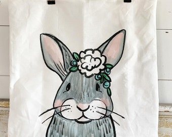 20x20 Pillow Cover | Bunny with Flowers