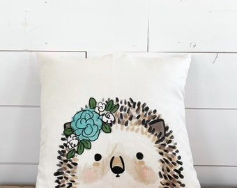 20x20  Pillow - Hedgehog with Flowers/ Floral Back