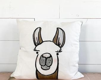 20x20  Pillow - Llama  / Gray Plaid Stripe Back
