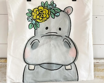 20x20 Pillow Cover | Hippo with Flowers