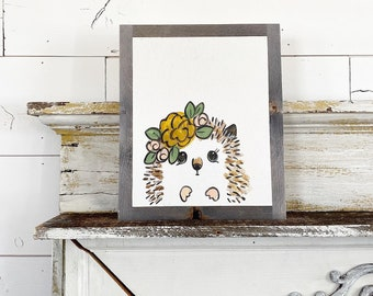 Hedgehog with Yellow Flowers