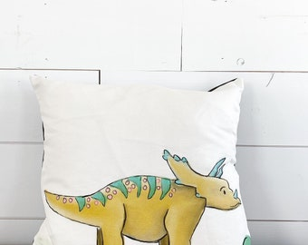 20x20 Pillow - Triceratops / Black Plaid Back