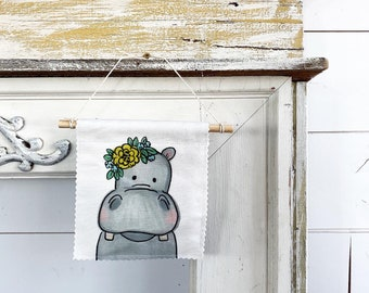 Hippopotamus with flowers - Banner/Wall Hanging/ Pennant