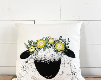 20x20 Pillow - Sheep with Flowers / Yellow Plaid Back